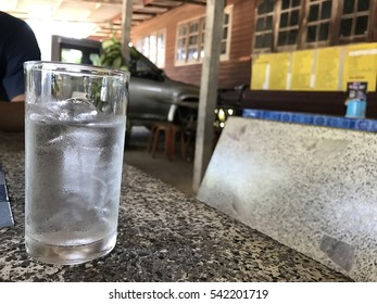 Cold water in street restaurant