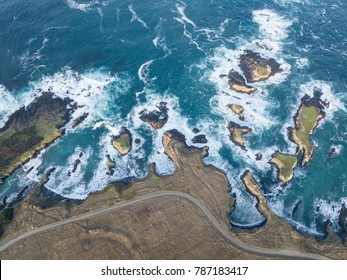 The cold waters of the Pacific Ocean wash against the rocky coastline of Mendocino in northern California. This scenic region is a few hours drive north of San Francisco.