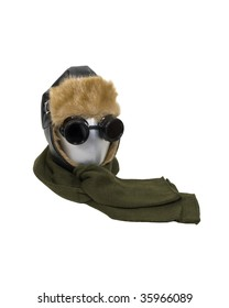 Cold weather aviator kit consisting of black leather fur lined aviator hat with goggles and a warm scarf - path included