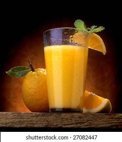 Cold wet orange juice