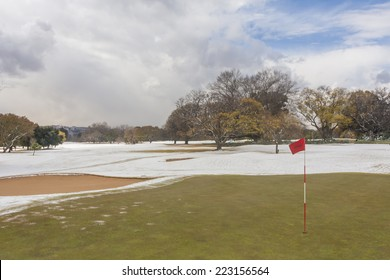 Cold, winter day with snow on the golf course