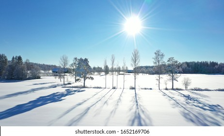 Cold winter day with sun
