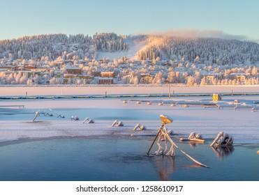 Cold winter day in Östersund in Sweden
