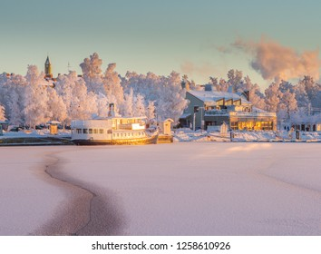 Cold winter day in Östersund in Sweden