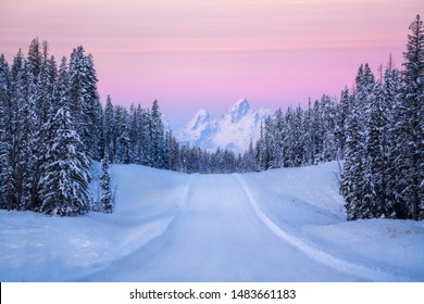 Cold winter landscape on a colorful morning in Wyoming.
