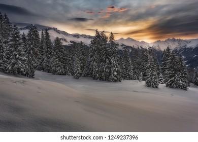 Cold winter morning over Prättigau