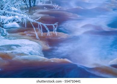 Cold winter river landscape