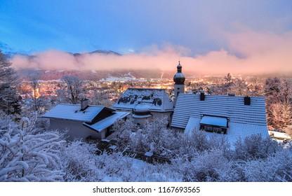 Cold winter snowy night in Germay ski town of Garmisch-Partenkirchen