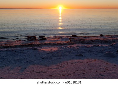 A cold winter sunset on the Baltic Sea