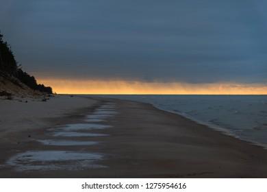 Cold winter wheather at Baltic sea, Latvia coast.