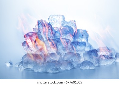 Its cold yet there is heat. There is ice yet there is fire - how can this be? Is it digitally edited or were the cubes really a fuel for the licking flames. I shall let you decide.
