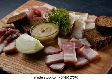 coldcut meat on wooden desk