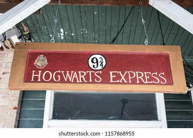 COLDWATER, ONTARIO/CANADA - JULY 23, 2018: A 9 1/2 Hogwarts Express sign hanging outside one of the old buildings on the Main Street of this quirky town.