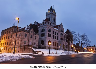 Cole County Courthouse in Jefferson City, Missouri at sunrise.