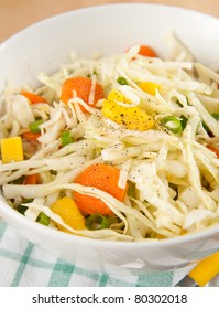 Cole Slaw with Green Onions, Carrots and Mango Pieces