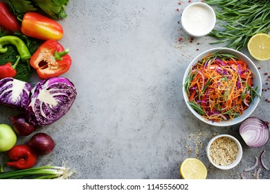 Cole slaw salad. Fresh fruits and vegetables. The concept of a healthy diet