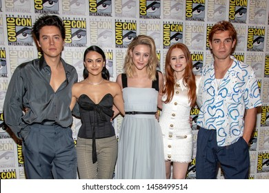 "Cole Sprouse, Camila Mendes, Lili Reinhart, Madelaine Petsch, KJ Apa attends 2019 Comic-Con International CW's ""Riverdale"" at Hilton Bayfront, San Diego, California on July 21 2019"