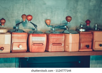 Colection of oldhand coffee grinder. with copy space