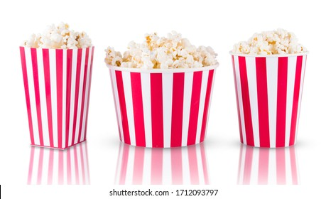 colection of Popcorn in red and white cardboard boxes isolated on white background
