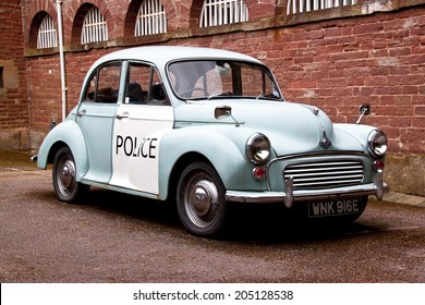 COLEFORD, GLOUCESTERSHIRE, UK - JULY 15th 2014 - old style english police car