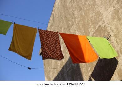 colerful clothesline sun