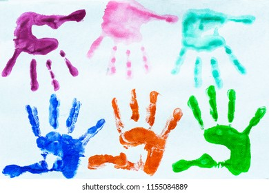 colerful of hands kid print on white background