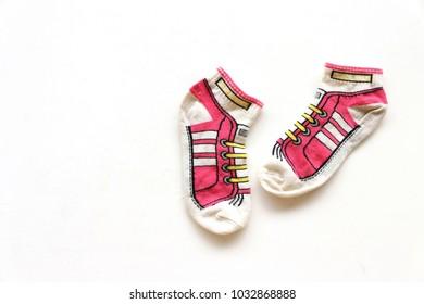 colerful socks on white background ,
