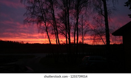Colerful sunset in southern Sweden