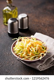 Coleslaw with cabbage and carrot, traditional American salad