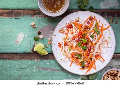 Coleslaw Salad with Carrots, Bean sprout, Pomegranate, Peanut, Cabbage. Summer Salad