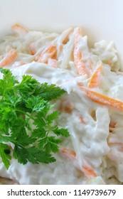 coleslaw salad in dish