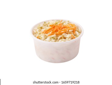 Coleslaw salad in plastic container bowl isolated on white background