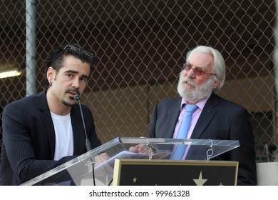 Colin Farrell and Donald Sutherland at the Donald Sutherland Star on the Hollywood Walk of Fame Ceremony, Hollywood Blvd, Hollywood, CA. 01-26-11