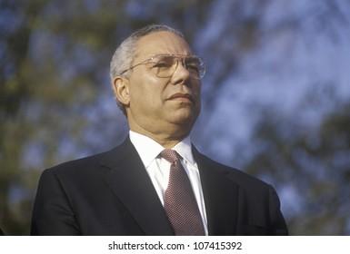 Colin Powell at a Bush/Cheney campaign rally in Costa Mesa, CA, 2000