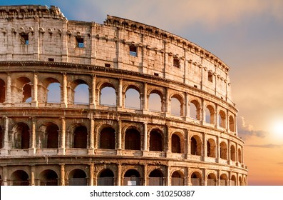 Coliseum during sunset in Rome Italy