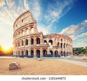 Coliseum or Flavian Amphitheatre (Amphitheatrum Flavium or Colosseo), Rome, Italy.