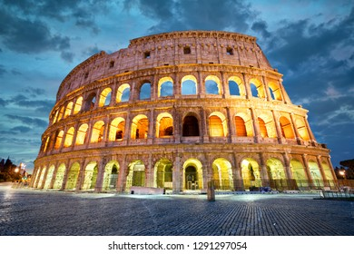 Coliseum or Flavian Amphitheatre in Rome at twilight, Italy