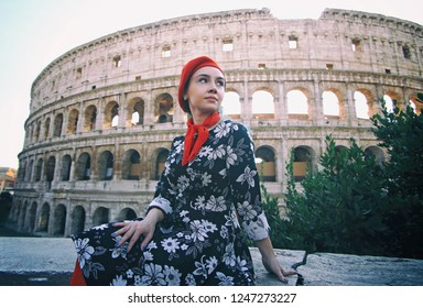 Coliseum And Girl - Rome, Italy