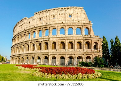 Coliseum with red flower