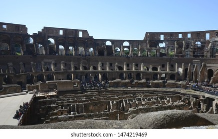 Coliseum. Rome. Italy. March 08, 2016. Coliseum inside. The walls of the Colosseum of travertine. Amphitheater Arena. Moves and exits. Lower and upper rows for spectators.