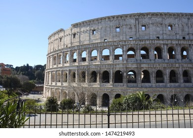 Coliseum. Rome. Italy. March 08, 2016. View of the Colosseum from Labikan Street. Walls of the Coliseum. Amphitheater outside. Flavian Amphitheater. Monument of architecture of Ancient Rome