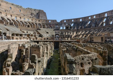 Coliseum. Rome. Italy. March 8, 2016. Colosseum inside. The Flavian Amphitheater is an architectural monument of ancient Rome. Famous landmark of Rome. The greatest building of the ancient world