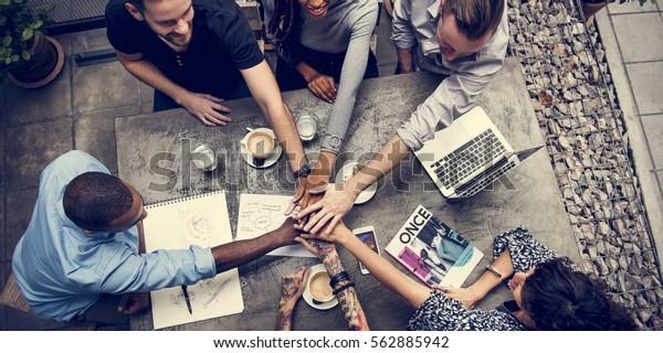 Zusammenarbeit-Verbindungsteam-Brainstorming-Einheit
