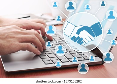 Collaboration over the internet. Online people network.