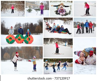 Collage with 12 people skating, skiing and snowtubs at winter outdoor