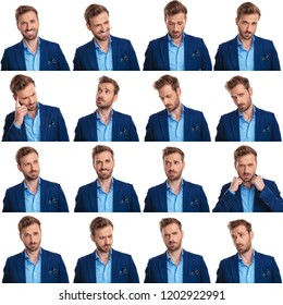 collage of 16 images of cool young smart casual man on white background