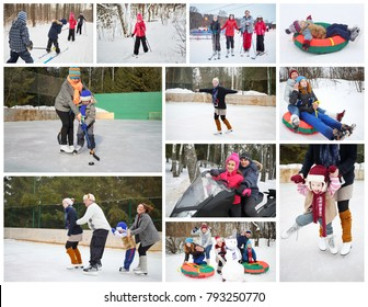 Collage with 16 people skating, skiing and snowtubs at winter outdoor