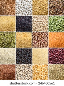 Collage of 20 different legumes and cereals close up