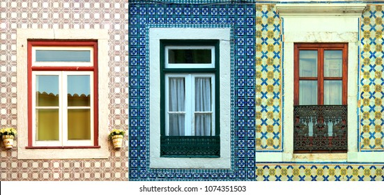 Collage of 3 different kind of windows surround by tiles in Portugal