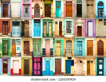 A collage of 40 ancient colorful wooden doors from Havana in Cuba